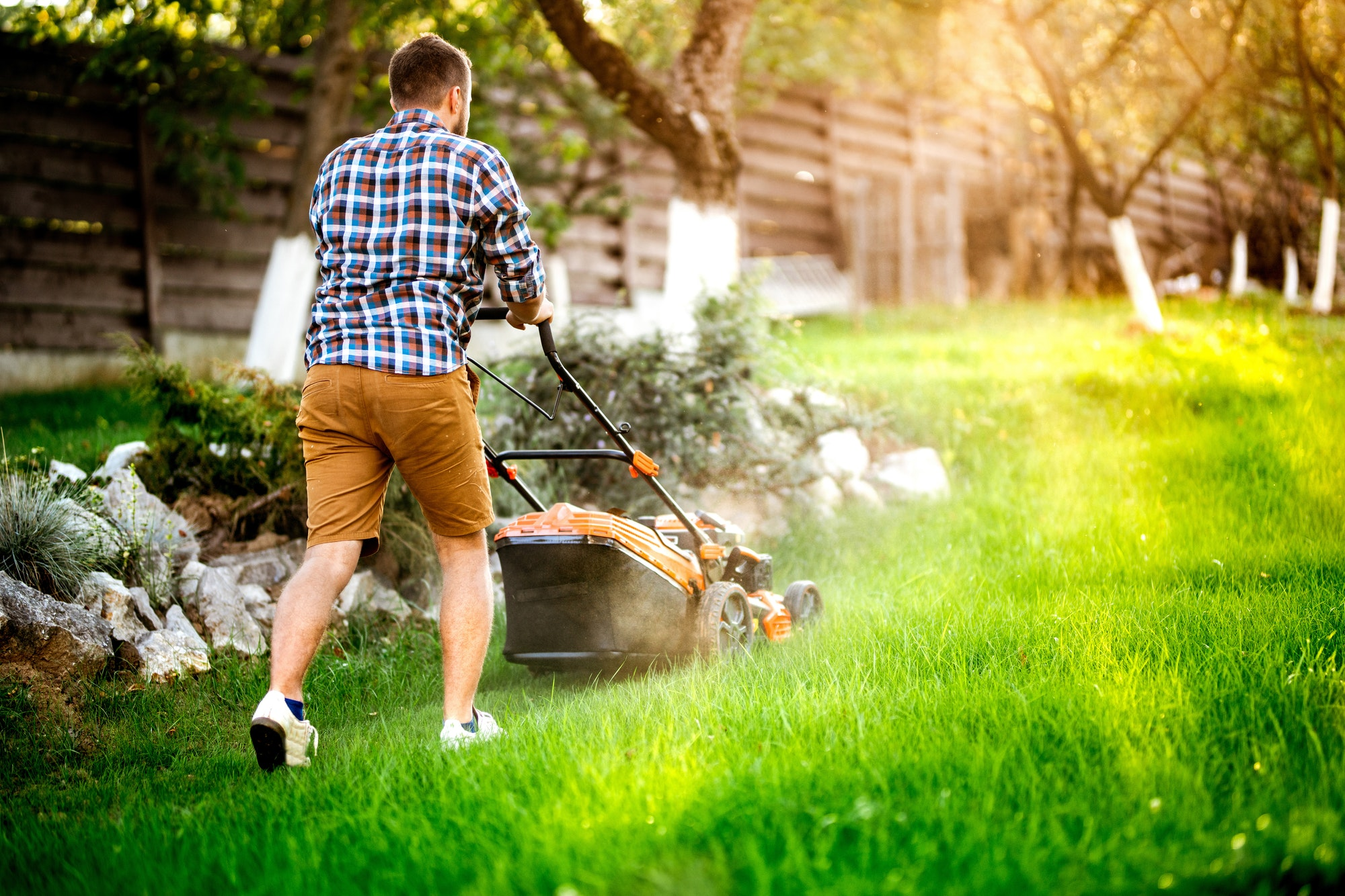 Gardener mowing the lawn using a gasoline powered device, a professional lawn mower
